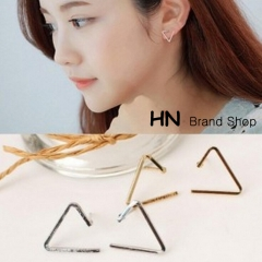 HN Brand-1 pair/Set New Beautiful Open triangular geometry stud earrings For Women Jewellery Gift gold 1.5cm*1.2cm