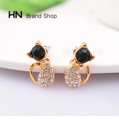 HN Brand-1 pair/Set New black opal Diamond Butterfly cute cat stud earrings Women Jewellery Gift gold 1cm*1.6cm