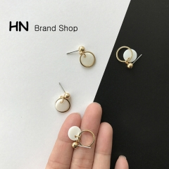 HN Brand-1 pair/Set New Beautiful Geometrically rounded shells stud earring For Women Jewellery Gift gold as picture