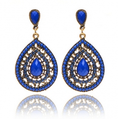 HN-1 Pair/Set New Wedding party Charm Vintage Bohemian beads heart stud earring Women Jewellery Gift royal blue as picture