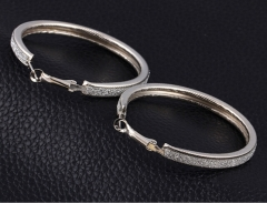 HN-1 Pair/Set New Beautiful dull polish alloy stud earring For Women Jewellery Gift silver as picture