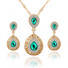 HN-3 Piece/Set New Beautiful Crystal Stud Earrings Necklace Pendant Set  For Women Jewellery Gift Green as picture