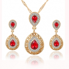 HN-3 Piece/Set New Beautiful Crystal Stud Earrings Necklace Pendant Set  For Women Jewellery Gift red as picture