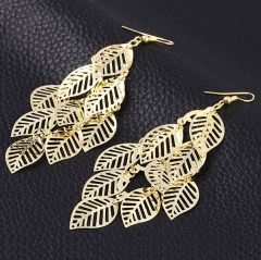 HN-1 Pair/Set New Beautiful Electroplating all-match leaves Drop earrings For Women Jewellery Gift gold as picture