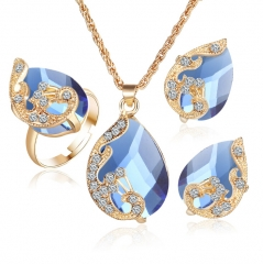 HN-3 piece/Set New Crystal drops Peacock Necklace pendant ring stud earring Women Jewellery Gift Blue as picture
