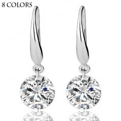 HN-1 Pair/Set New Beautiful zircon crystal alloy Drop earrings For Women Jewellery Gift White as picture
