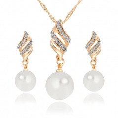 HN-3 piece/Set New Fashion Pearl diamond Necklaces pendant stud earrings Women Jewellery Gift gold as picture