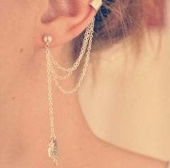 HN-1 Pcs/Set New Beautiful Metal leaf tassels Drop stud earrings For Women Jewellery Gift silver as picture