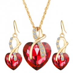 HN-3 piece/Set New Crystal drops heart-shaped Necklace pendant stud earrings Women Jewellery Gift Red as picture