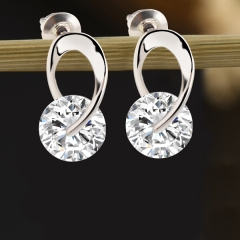 HN-1 Pair/Set New Beautiful screw Real gold zircon stud earrings For Women Jewellery Gift silver as picture