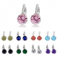 HN-1 Pair/Set New Beautiful Crystal zircon High-grade Drops stud earrings For Women Jewellery Gift green as picture