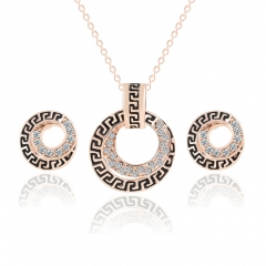HN-3piece/Set New Ancient lines Diamonds drops Peacock Necklace pendant stud earring Women Jewellery gold as picture