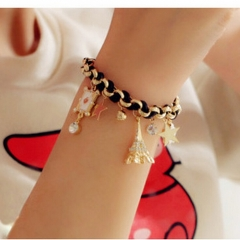HN-1Pcs/Set New FashionFive pointed card Five flower Metal Bracelets Bangles Women Jewellery Gift Black as picture