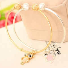 HN-1Pcs/Set New Fashion Cute diamond eye stone Owl Metal Bracelets Bangles Women Jewellery Gift gold as picture