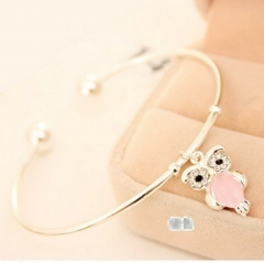 HN-1Pcs/Set New Fashion Cute diamond eye stone Owl Metal Bracelets Bangles Women Jewellery Gift silver as picture