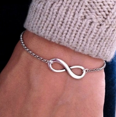 HN-1Pcs/Set New Fashion 8 character buckle Metal Bracelets Bangles Women Jewellery Gift silver as picture