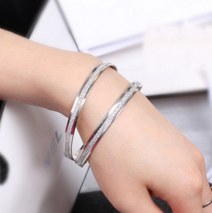 HN-1Pcs/Set New Fashion dull polish Ring Metal Bracelets Bangles Women Jewellery Gift gold as picture