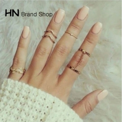 HN Brand-6 piece/Set New Beautiful New fashion all-match diamond Rings For Women Jewellery Gift gold diameter:1.7cm