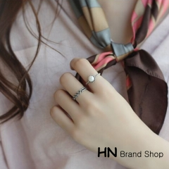 HN Brand-2 piece/Set New Beautiful Twist woven pearl opening Rings For Women Jewellery Gift silver as picture