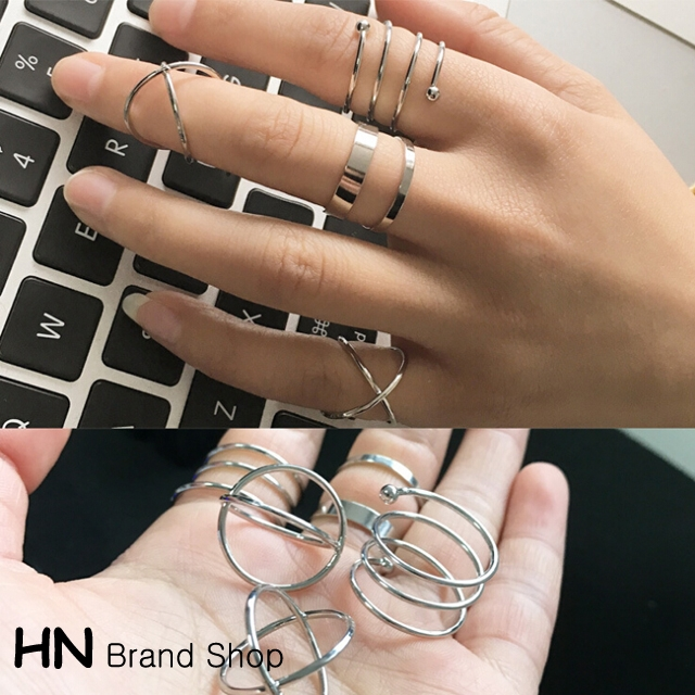 HN Brand-6 piece/Set New Beautiful Cross personality metal combination Rings Women Jewellery Gift gold diameter:1.8cm