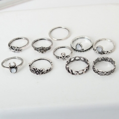 HN Brand-10 piece/Set New Beautiful Carved Flower gem crystal Rings Women Jewellery Gift silver diameter:1.5cm