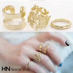 HN Brand-3 piece/Set New Beautiful Leaf metal Rings Women Jewellery Gift gold as picture