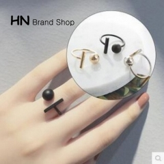 HN Brand-1 piece/Set New Beautiful Round square metal Rings Women Jewellery Gift gold diameter:1.8cm