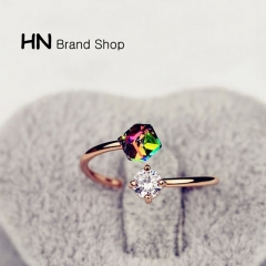 HN Brand-1 piece/Set New Beautiful Colored diamond Opening Rings Women Jewellery Gift Rose Gold as picture