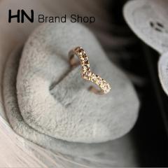 HN Brand-1 piece/Set New Beautiful V shape Diamond metal Rings Women Jewellery Christmas Gift gold diameter:1.7cm