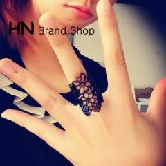 HN Brand-1 piece/Set New Beautiful Wisp Lace Rose Metal Rings Women Jewellery Christmas Gift black diameter:1.64cm