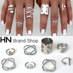HN Brand-8 piece/Set New Beautiful Bohemia metal Arrow cylinder Rings Women Jewellery Christmas Gift silver as picture