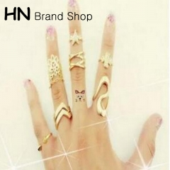 HN Brand-7 piece/Set New Beautiful Clover lace diamond star metal Rings Women Jewellery Gift gold as picture
