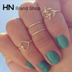 HN Brand-4 piece/Set New Beautiful Diamond love leaves metal Rings Women Jewellery Christmas Gift gold as picture