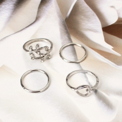 HN Brand-4 piece/Set New Beautiful Diamond love leaves metal Rings Women Jewellery Christmas Gift silver as picture
