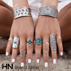 HN Brand-9 piece/Set New Bohemia wide edition carved geometric Totem metal Rings Women Jewellery silver as picture