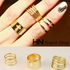 HN Brand-3 piece/Set New Beautiful Hollowed cross metal Rings Women Jewellery Christmas Gift gold as picture
