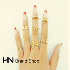 HN Brand-7 piece/Set New Diamond 8 words V characters butterfly cross metal Rings Women Jewellery gold as picture