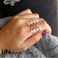 HN Brand-1 piece/Set New Beautiful Pearl crossing metal Rings Women Jewellery Christmas Gift gold diameter:1.8cm