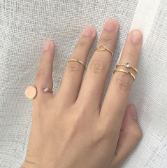 HN Brand-5 piece/Set New Beautiful Pink stone triangle metal Rings Women Jewellery Christmas Gift gold as picture