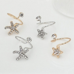 HN Brand-1 piece/Set New Beautiful Starfish Star Diamond opening metal Rings Women Jewellery Gift gold 1 as picture