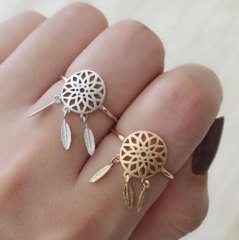 HN Brand-1 piece/Set New Beautiful Dreamcatcher metal Rings Women Jewellery Christmas Gift gold as picture