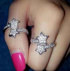 HN Brand-1 piece/Set New Beautiful Shiny diamond Two Five-pointed star Metal Rings Women Jewellery silver as picture