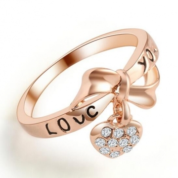HN-1 piece/Set New LOVE heart knot diamond Bride Wedding Rings Women Men Jewellery Christmas Gift Rose Gold 6