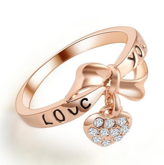 HN-1 piece/Set New LOVE heart knot diamond Bride Wedding Rings Women Men Jewellery Christmas Gift Rose Gold 6