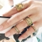 HN-4 piece/Set New Retro carved elephant alloy Wedding Rings Women Men Jewellery Christmas Gift gold as picture