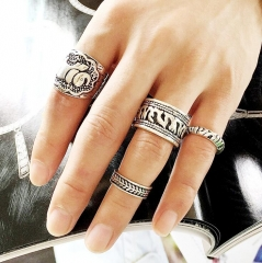 HN-4 piece/Set New Retro carved elephant alloy Wedding Rings Women Men Jewellery Christmas Gift silver as picture