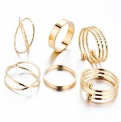 HN-6 piece/Set New Fashion Alloy personality  Wedding Rings Women Men Jewellery Christmas Gift gold diameter   1.6cm