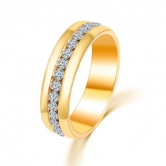 HN-1 piece/Set New Fashion Luxurious diamond Wedding Rings Women Men Jewellery Christmas Gift gold 6