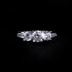 HN-1 piece/Set New Electroplate zircon 18k diamond Wedding Rings Women Men Jewellery Christmas Gift White gold 9