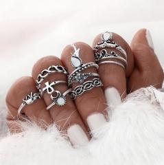 HN-10 piece/Set New Elephant gem zircon Alloy Wedding Rings Women Men Jewellery Christmas Gift silver as picture